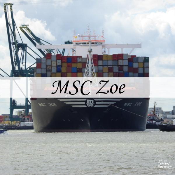 containerschip MSC Zoe in Antwerpen - titel