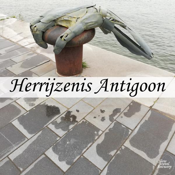 Kunstwerk Herrijzenis Antigoon - hand aan het Havenhuis - titel
