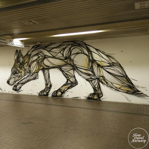 Street Art in Antwerpen - mijn favorieten - Silver Fox - Dzia