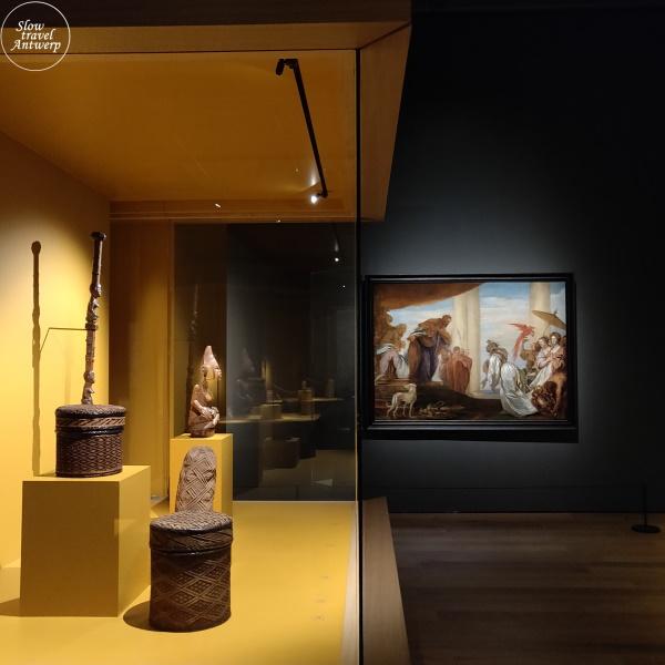 expo 100 x Congo in MAS Antwerpen - zicht naar werk met koninging van Seba (Boeckhorst)