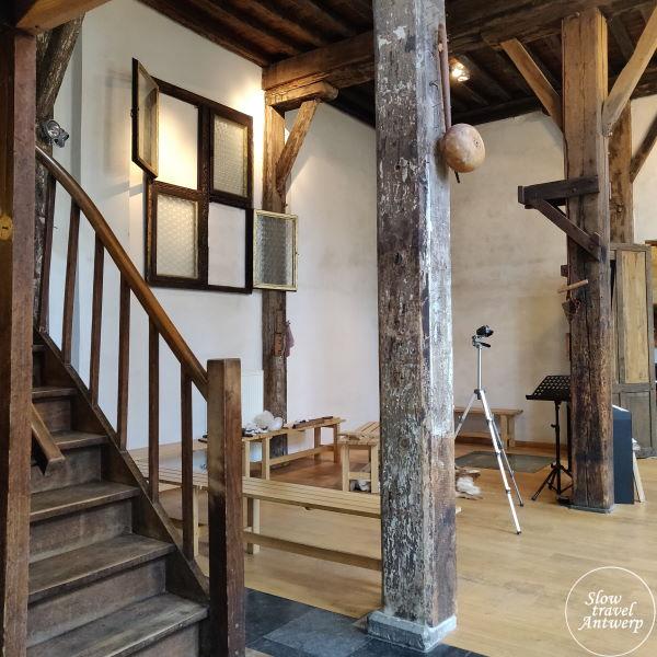 Zilversmidspand en Zilversmidgang Antwerpen - interieur achterhuis waar vroeger atelier zilversmeden